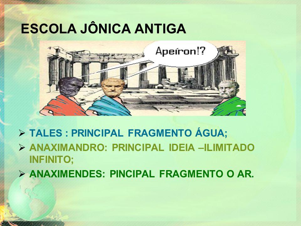 ESCOLA JÔNICA ANTIGA  TALES : PRINCIPAL FRAGMENTO ÁGUA;  ANAXIMANDRO: PRINCIPAL IDEIA –ILIMITADO INFINITO;  ANAXIMENDES: PINCIPAL FRAGMENTO O AR.