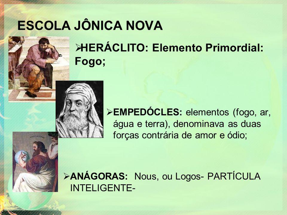 ESCOLA JÔNICA NOVA  EMPEDÓCLES: elementos (fogo, ar, água e terra), denominava as duas forças contrária de amor e ódio;  ANÁGORAS: Nous, ou Logos- P