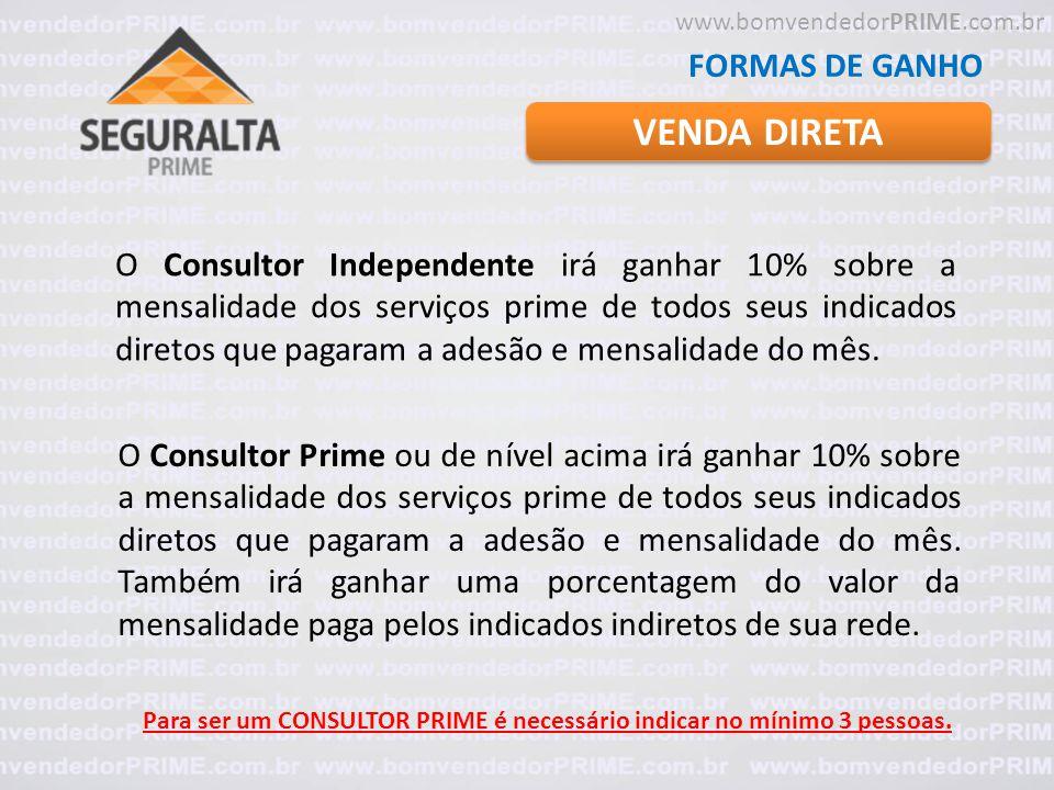 VENDA DIRETA FORMAS DE GANHO O Consultor Independente irá ganhar 10% sobre a mensalidade dos serviços prime de todos seus indicados diretos que pagara