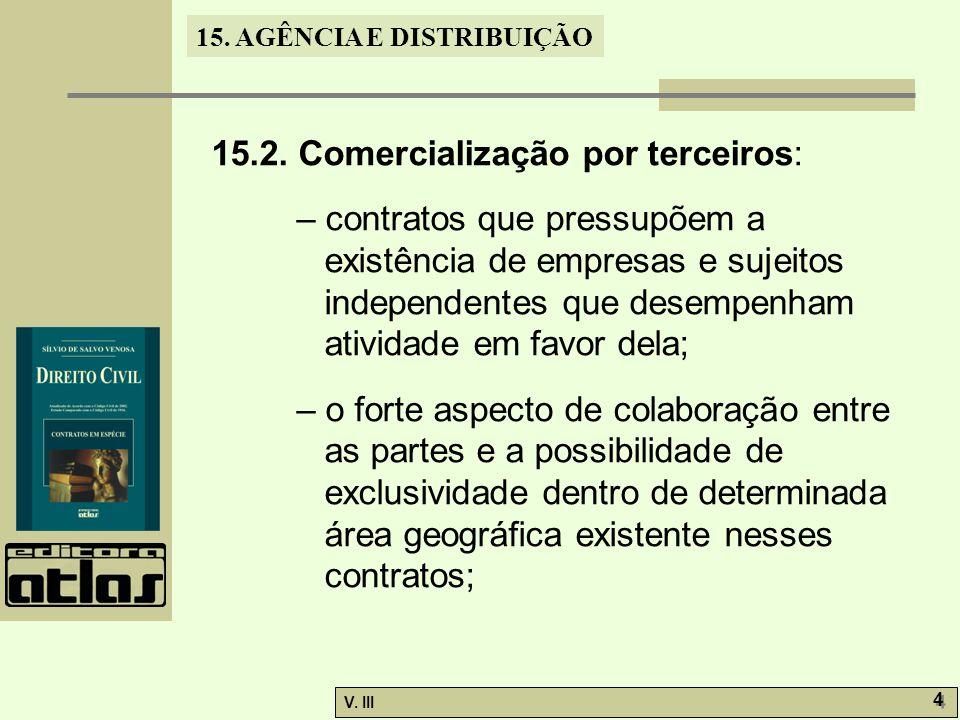 15. AGÊNCIA E DISTRIBUIÇÃO V. III 4 4 15.2. Comercialização por terceiros: – contratos que pressupõem a existência de empresas e sujeitos independente