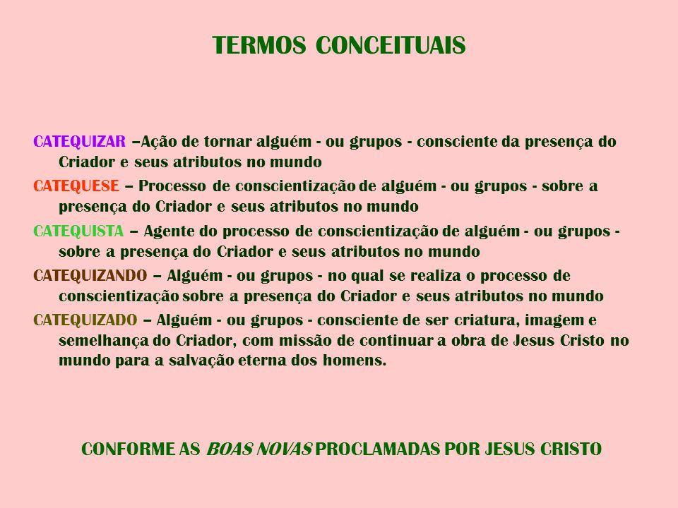 TERMOS CONCEITUAIS CATEQUIZAR –Ação de tornar alguém - ou grupos - consciente da presença do Criador e seus atributos no mundo CATEQUESE – Processo de