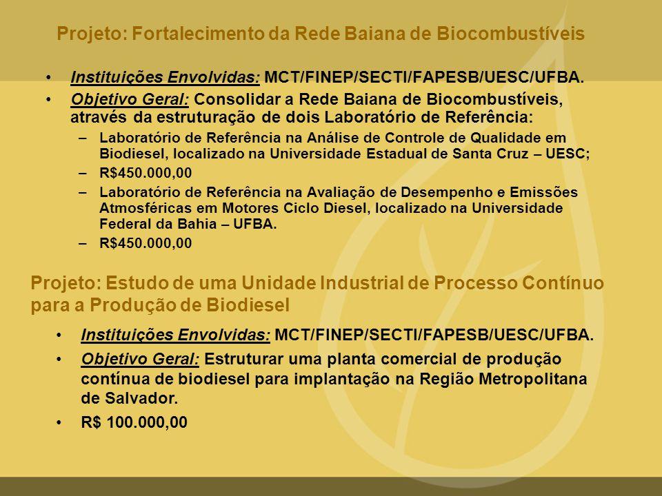 Projeto: Fortalecimento da Rede Baiana de Biocombustíveis •Instituições Envolvidas: MCT/FINEP/SECTI/FAPESB/UESC/UFBA. •Objetivo Geral: Consolidar a Re