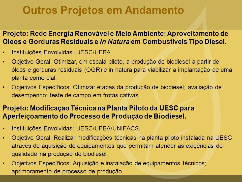 Projeto: Modificação Técnica na Planta Piloto da UESC para Aperfeiçoamento do Processo de Produção de Biodiesel. •Instituições Envolvidas: UESC/UFBA/U