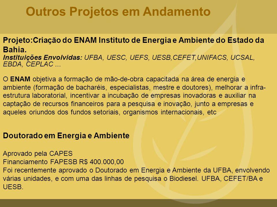 Projeto:Criação do ENAM Instituto de Energia e Ambiente do Estado da Bahia. Instituições Envolvidas: UFBA, UESC, UEFS, UESB,CEFET,UNIFACS, UCSAL, EBDA