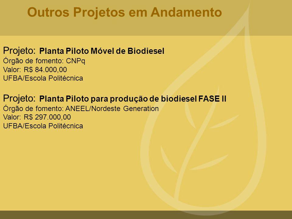 Projeto: Planta Piloto Móvel de Biodiesel Órgão de fomento: CNPq Valor: R$ 84.000,00 UFBA/Escola Politécnica Projeto: Planta Piloto para produção de b