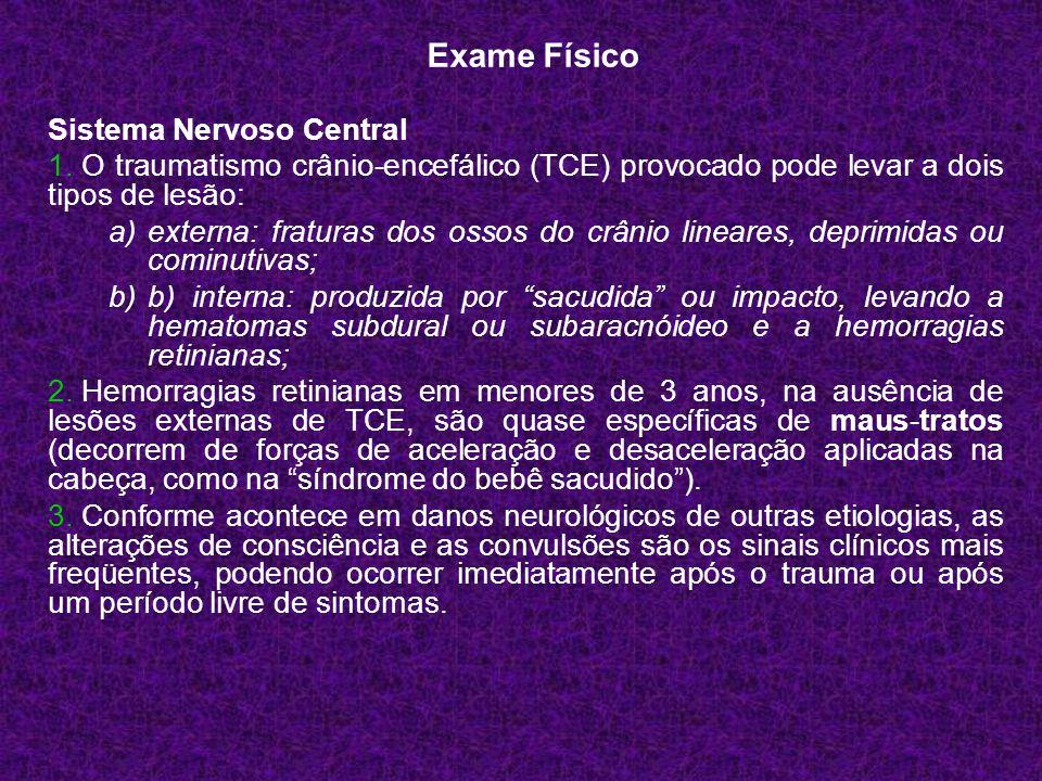 Sistema Nervoso Central 1. O traumatismo crânio-encefálico (TCE) provocado pode levar a dois tipos de lesão: a)externa: fraturas dos ossos do crânio l