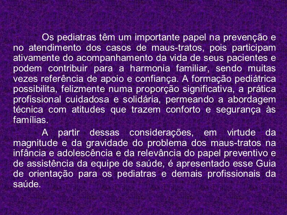 Os pediatras têm um importante papel na prevenção e no atendimento dos casos de maus-tratos, pois participam ativamente do acompanhamento da vida de s