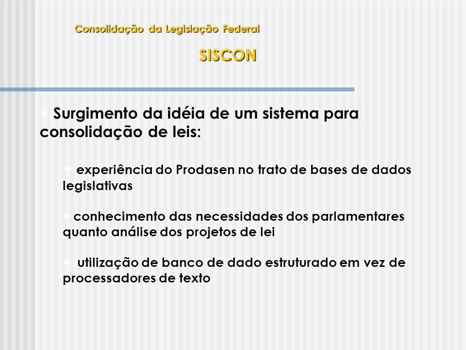 SISCON  Surgimento da idéia de um sistema para consolidação de leis:  experiência do Prodasen no trato de bases de dados legislativas  conhecimento