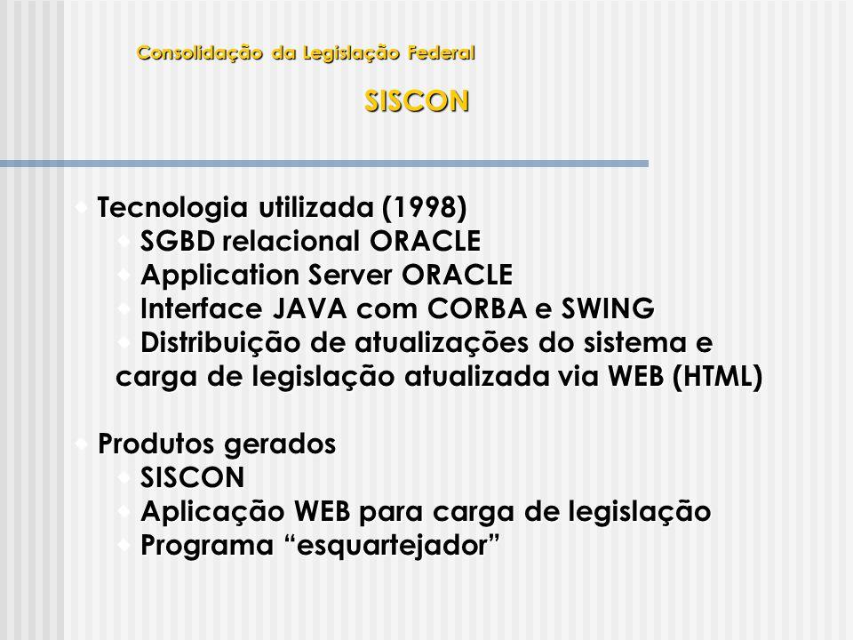 SISCON  Tecnologia utilizada (1998)  SGBD relacional ORACLE  Application Server ORACLE  Interface JAVA com CORBA e SWING  Distribuição de atualiz