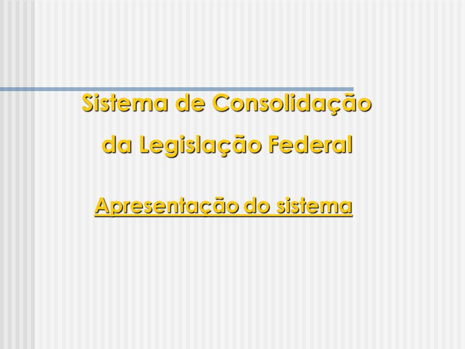 Apresentação do sistema Sistema de Consolidação da Legislação Federal