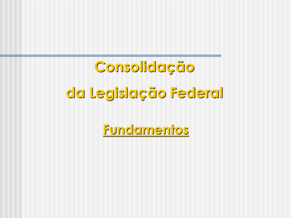 SISCON  Limites do sistema  Destinado apenas ao trabalho do Executivo  1 usuário manipulando cada matriz por vez  Limites no tratamento de anexos  Destinado à tarefa de consolidação  Pesquisa de legislação baseada nas ferramentas já existentes Consolidação da Legislação Federal