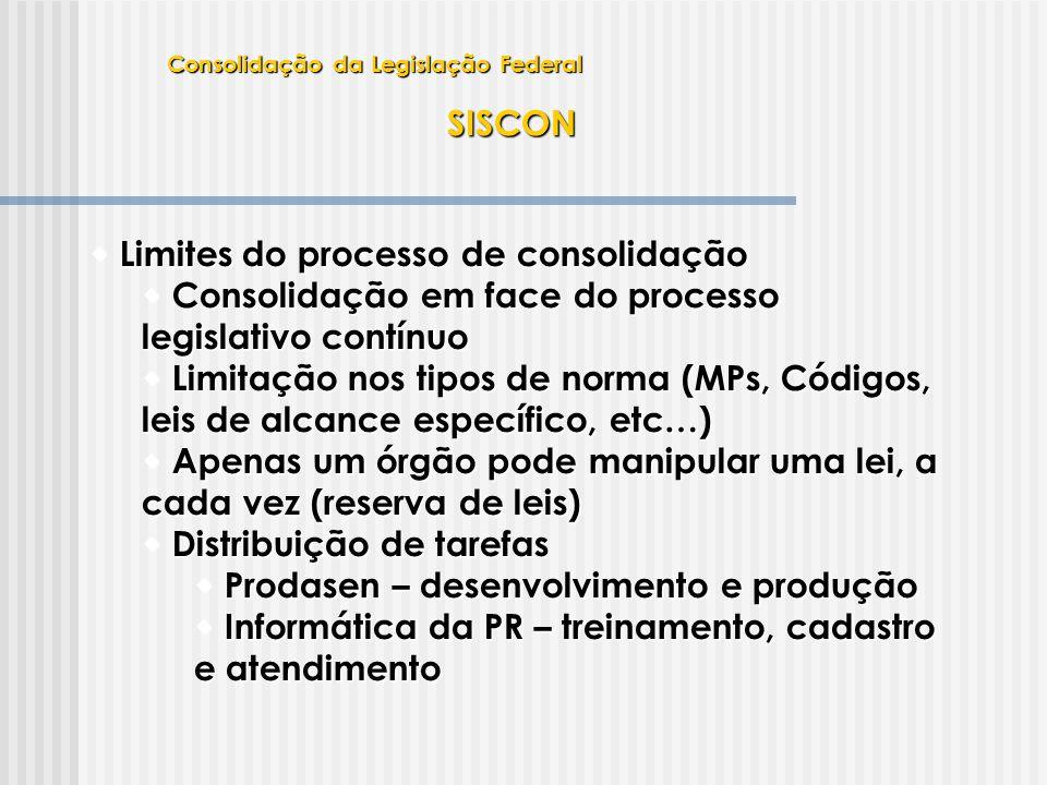 SISCON  Limites do processo de consolidação  Consolidação em face do processo legislativo contínuo  Limitação nos tipos de norma (MPs, Códigos, lei