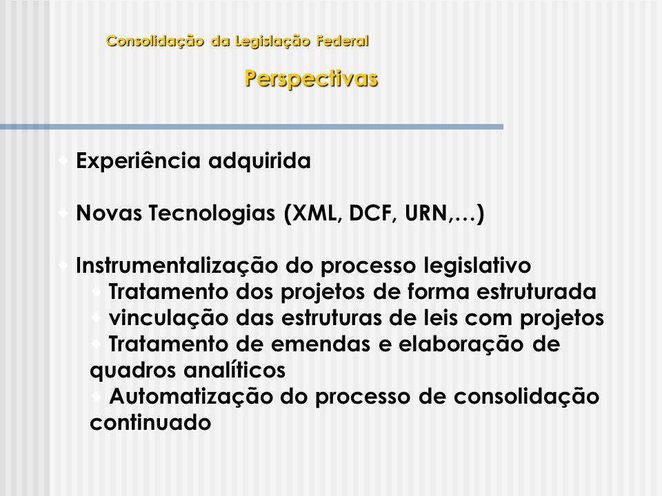 Perspectivas  Experiência adquirida  Novas Tecnologias (XML, DCF, URN,…)  Instrumentalização do processo legislativo  Tratamento dos projetos de f