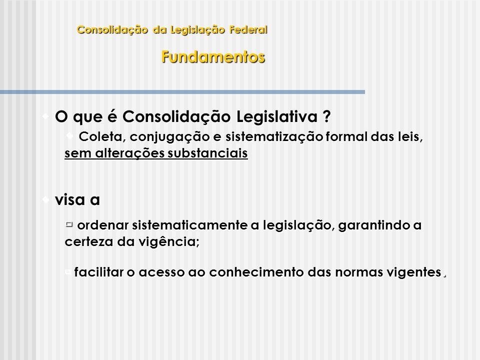 Fundamentos Legislação  Legislação  Lei Complementar 95, de 1998  dispõe sobre o processo de consolidação em etapas:  Início nos Ministérios – exame da legislação e consolidação por assunto  Revisão pela Presidência da República  Apreciação pelo Congresso Nacional  dispõe, também, sobre os padrões para elaboração, redação e alteração de leis  Alterada pela Lei Complementar 107, de 2001 Consolidação da Legislação Federal