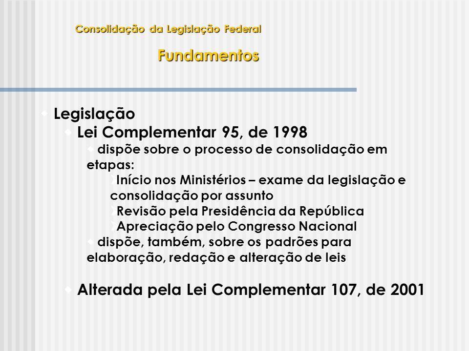 Fundamentos Legislação  Legislação  Lei Complementar 95, de 1998  dispõe sobre o processo de consolidação em etapas:  Início nos Ministérios – exa