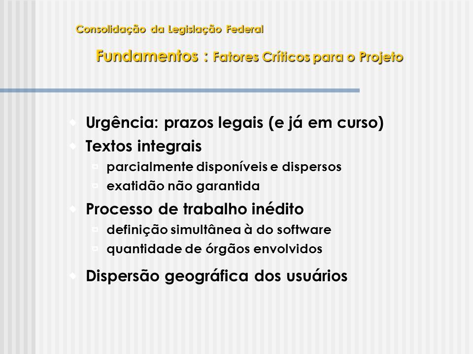  Urgência: prazos legais (e já em curso)  Processo de trabalho inédito  definição simultânea à do software  quantidade de órgãos envolvidos  Text
