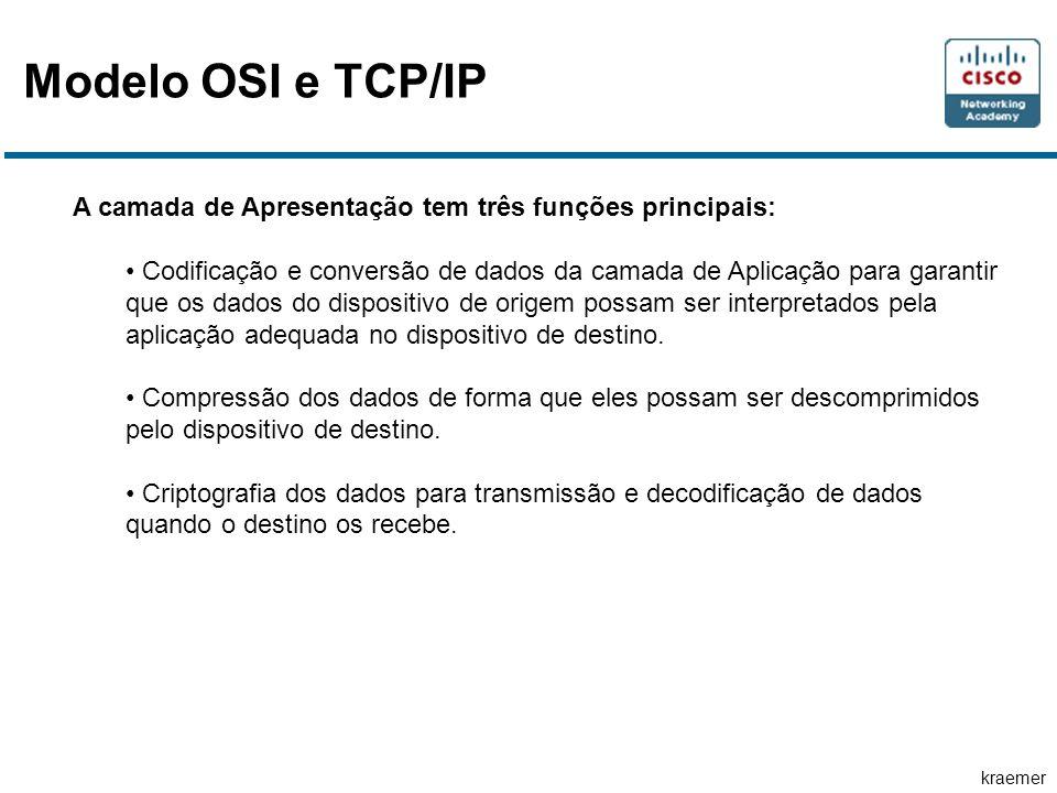 kraemer Modelo OSI e TCP/IP A camada de Apresentação tem três funções principais: • Codificação e conversão de dados da camada de Aplicação para garantir que os dados do dispositivo de origem possam ser interpretados pela aplicação adequada no dispositivo de destino.