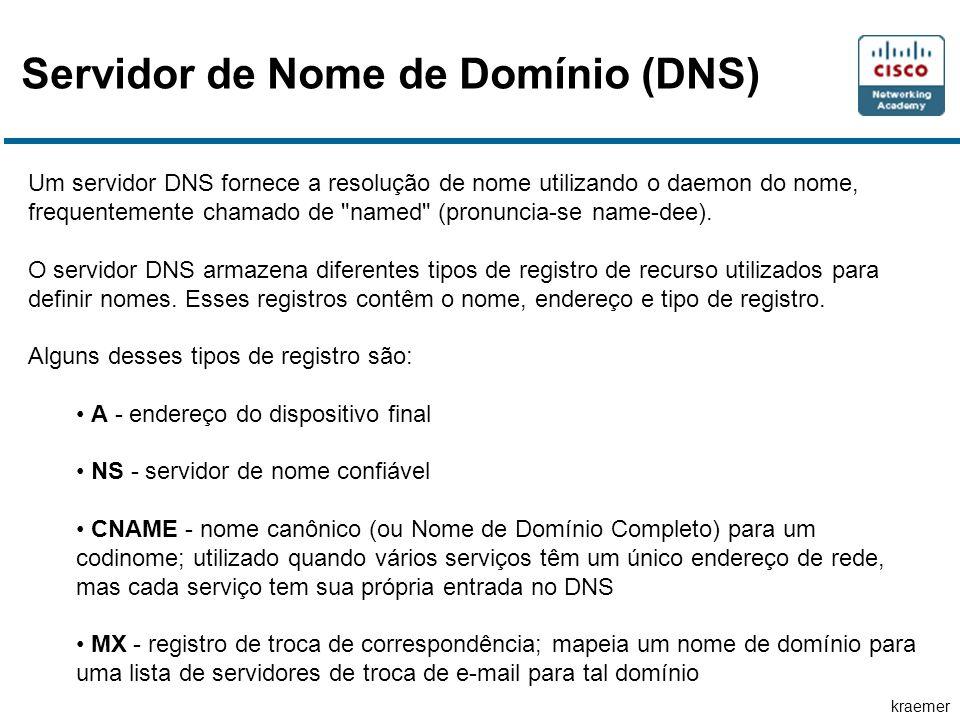 kraemer Servidor de Nome de Domínio (DNS) Um servidor DNS fornece a resolução de nome utilizando o daemon do nome, frequentemente chamado de named (pronuncia-se name-dee).