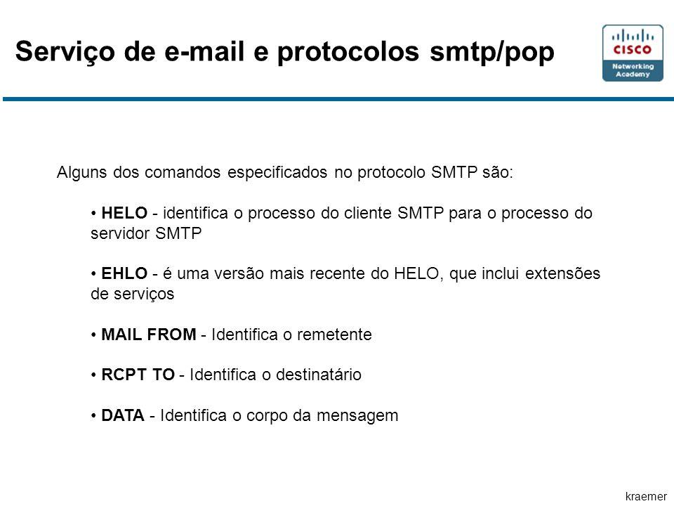 kraemer Serviço de e-mail e protocolos smtp/pop Alguns dos comandos especificados no protocolo SMTP são: • HELO - identifica o processo do cliente SMTP para o processo do servidor SMTP • EHLO - é uma versão mais recente do HELO, que inclui extensões de serviços • MAIL FROM - Identifica o remetente • RCPT TO - Identifica o destinatário • DATA - Identifica o corpo da mensagem