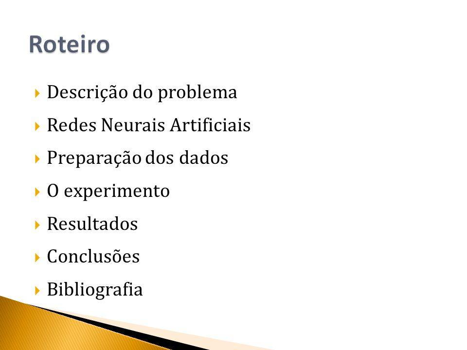  Descrição do problema  Redes Neurais Artificiais  Preparação dos dados  O experimento  Resultados  Conclusões  Bibliografia