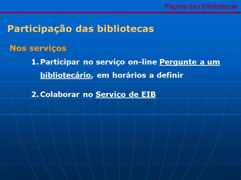 Participação das bibliotecas Página das bibliotecas Nos serviços 1.Participar no serviço on-line Pergunte a um bibliotecário, em horários a definir 2.Colaborar no Serviço de EIB