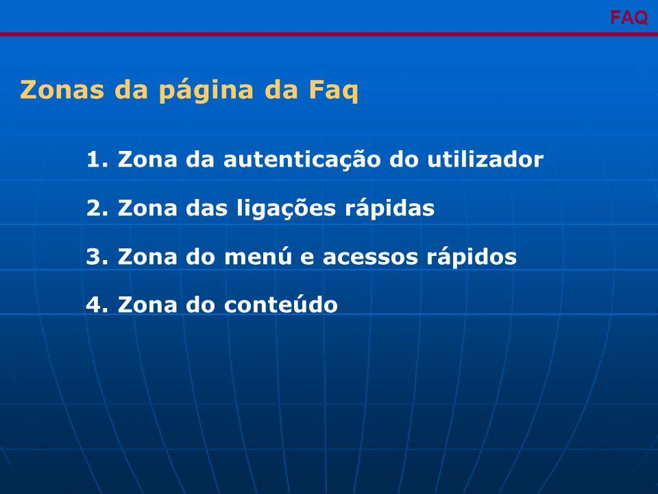 1. Zona da autenticação do utilizador 2. Zona das ligações rápidas 3.