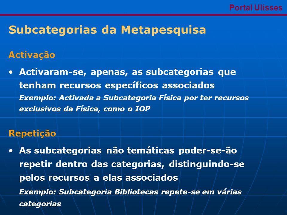 Subcategorias da Metapesquisa Portal Ulisses Activação •Activaram-se, apenas, as subcategorias que tenham recursos específicos associados Exemplo: Activada a Subcategoria Física por ter recursos exclusivos da Física, como o IOP Repetição •As subcategorias não temáticas poder-se-ão repetir dentro das categorias, distinguindo-se pelos recursos a elas associados Exemplo: Subcategoria Bibliotecas repete-se em várias categorias