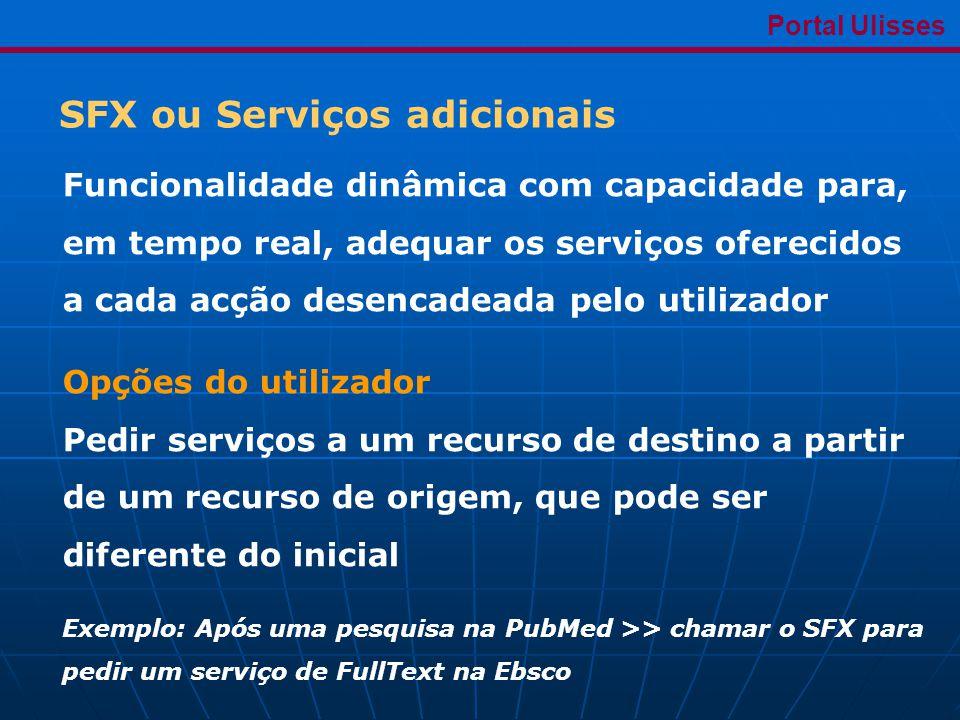 SFX ou Serviços adicionais Portal Ulisses Funcionalidade dinâmica com capacidade para, em tempo real, adequar os serviços oferecidos a cada acção desencadeada pelo utilizador Opções do utilizador Pedir serviços a um recurso de destino a partir de um recurso de origem, que pode ser diferente do inicial Exemplo: Após uma pesquisa na PubMed >> chamar o SFX para pedir um serviço de FullText na Ebsco
