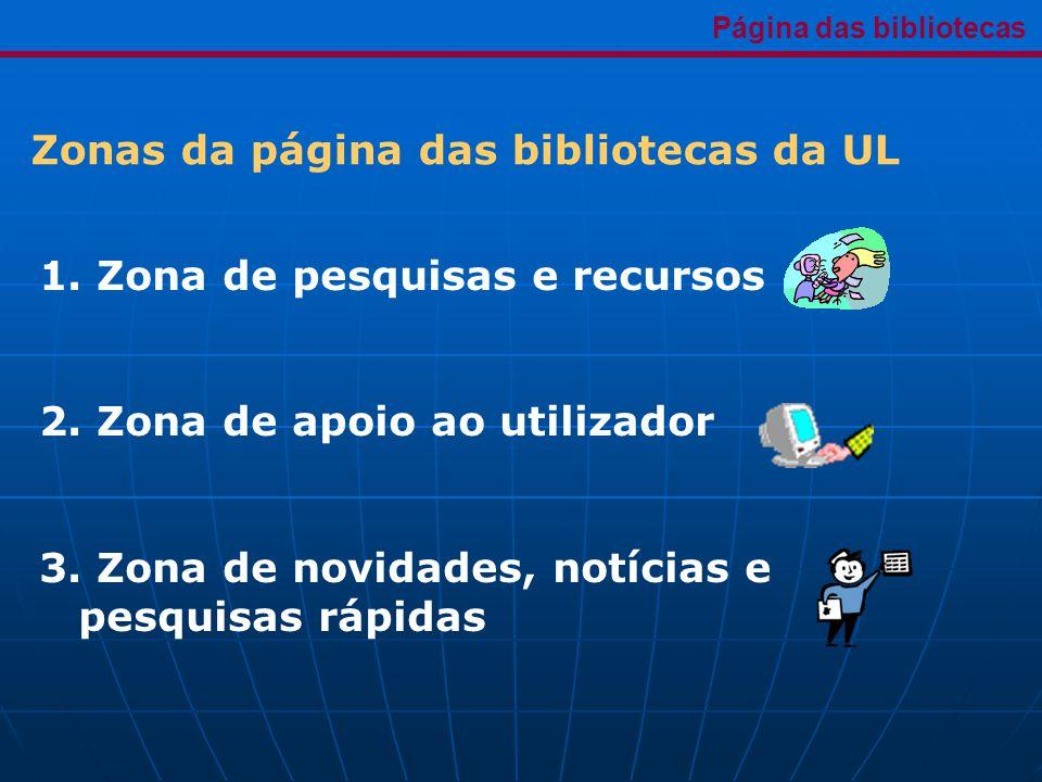 1. Zona de pesquisas e recursos 2. Zona de apoio ao utilizador 3.
