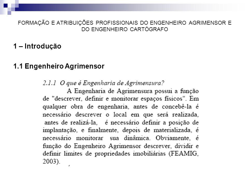 FORMAÇÃO E ATRIBUIÇÕES PROFISSIONAIS DO ENGENHEIRO AGRIMENSOR E DO ENGENHEIRO CARTÓGRAFO 1 – Introdução 1.1 Engenheiro Agrimensor