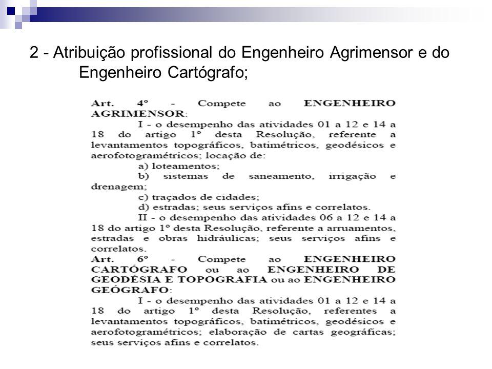 2 - Atribuição profissional do Engenheiro Agrimensor e do Engenheiro Cartógrafo;