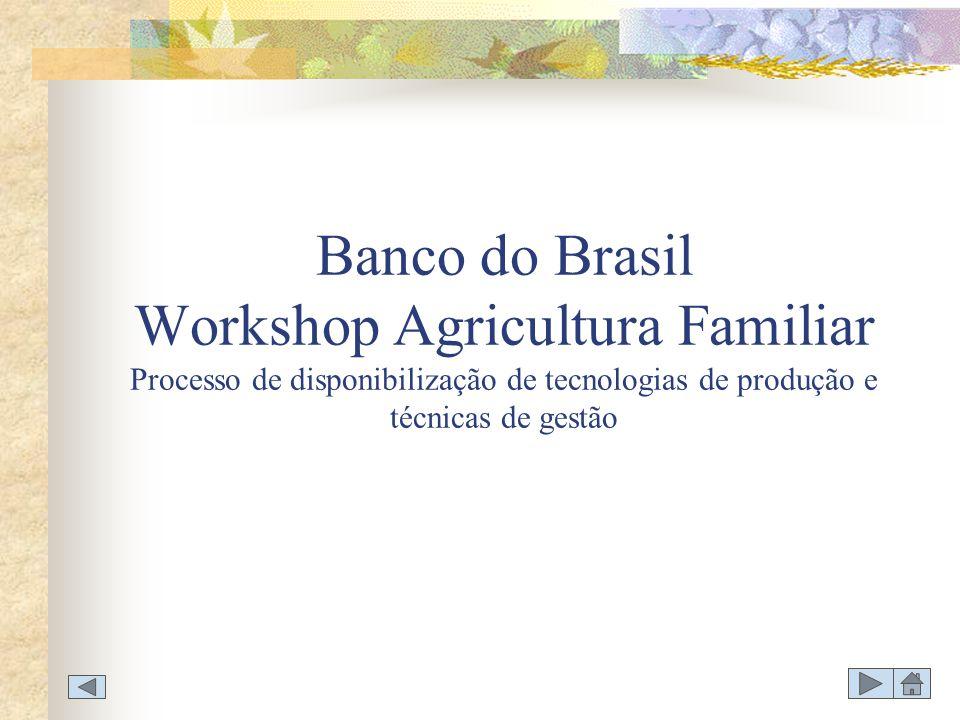 WORKSHOP AGRICULTURA FAMILIAR DISPONIBILIZAÇÃO DE TECNOLOGIAS DE PRODUÇÃO E GESTÃO TÓPICO 2 - ATUAÇÃO BANCO DO BRASIL 2.1.