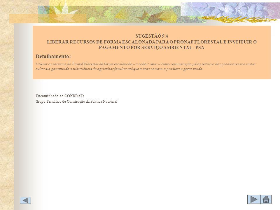 Encaminhado ao CONDRAF: Grupo Temático de Construção da Política Nacional SUGESTÃO 9.4 LIBERAR RECURSOS DE FORMA ESCALONADA PARA O PRONAF FLORESTAL E