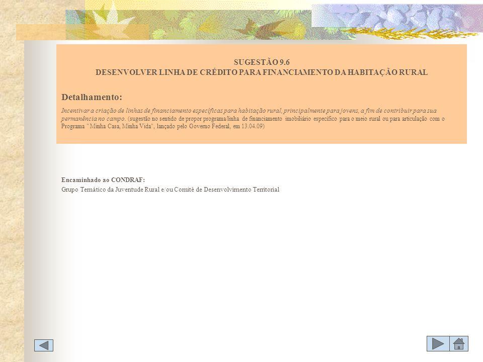 Encaminhado ao CONDRAF: Grupo Temático da Juventude Rural e/ou Comitê de Desenvolvimento Territorial SUGESTÃO 9.6 DESENVOLVER LINHA DE CRÉDITO PARA FI