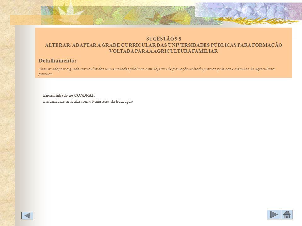 Encaminhado ao CONDRAF: Encaminhar/ articular com o Ministério da Educação SUGESTÃO 9.8 ALTERAR/ ADAPTAR A GRADE CURRICULAR DAS UNIVERSIDADES PÚBLICAS