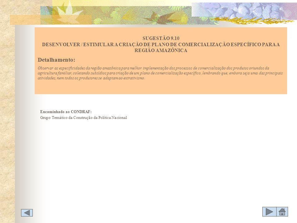 Encaminhado ao CONDRAF: Grupo Temático da Construção da Política Nacional SUGESTÃO 9.10 DESENVOLVER / ESTIMULAR A CRIAÇÃO DE PLANO DE COMERCIALIZAÇÃO