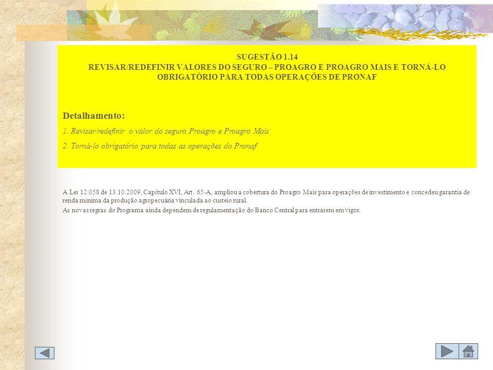 A Lei 12.058 de 13.10.2009, Capítulo XVI, Art. 65-A, ampliou a cobertura do Proagro Mais para operações de investimento e concedeu garantia de renda m