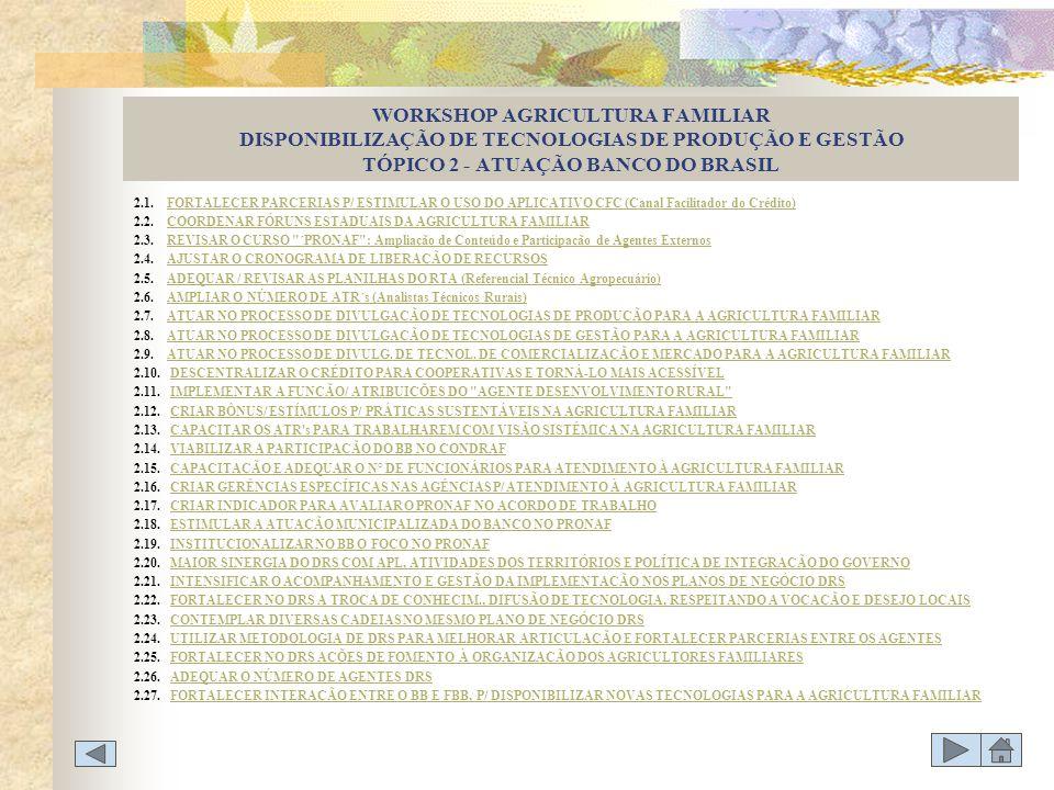 WORKSHOP AGRICULTURA FAMILIAR DISPONIBILIZAÇÃO DE TECNOLOGIAS DE PRODUÇÃO E GESTÃO TÓPICO 2 - ATUAÇÃO BANCO DO BRASIL 2.1. FORTALECER PARCERIAS P/ EST