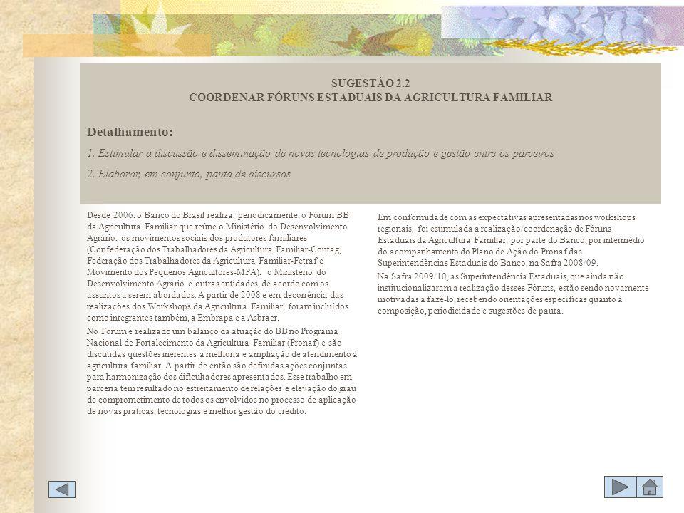 Desde 2006, o Banco do Brasil realiza, periodicamente, o Fórum BB da Agricultura Familiar que reúne o Ministério do Desenvolvimento Agrário, os movime