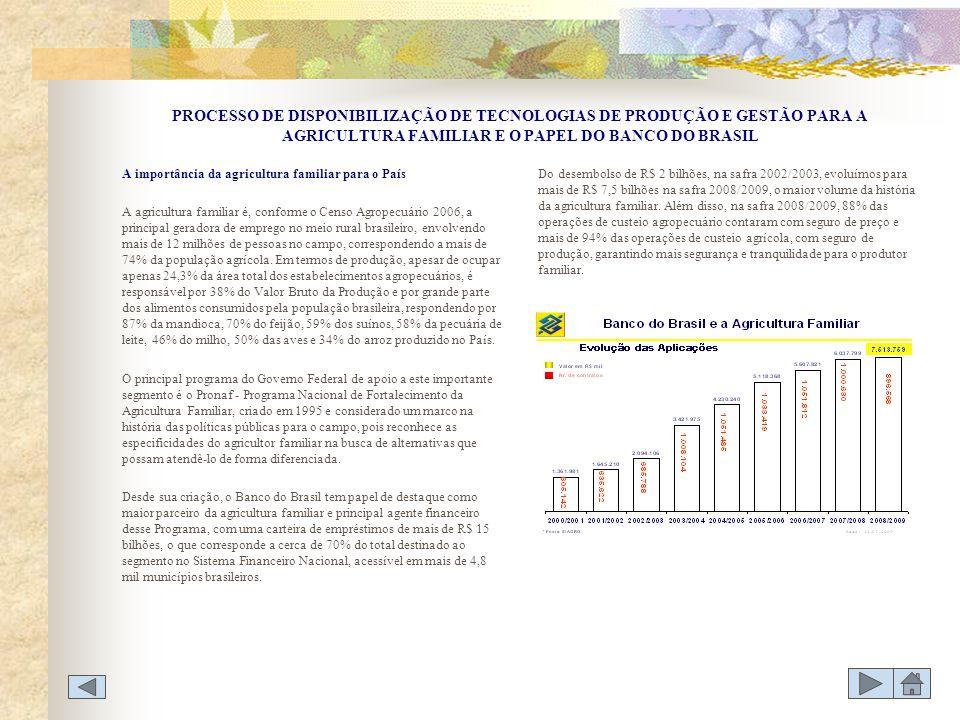PROCESSO DE DISPONIBILIZAÇÃO DE TECNOLOGIAS DE PRODUÇÃO E GESTÃO PARA A AGRICULTURA FAMILIAR E O PAPEL DO BANCO DO BRASIL A importância da agricultura