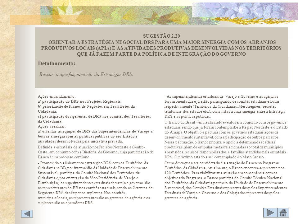 Ações em andamento: a) participação do DRS nos Projetos Regionais, b) priorização de Planos de Negócios em Territórios da Cidadania, c) participação d