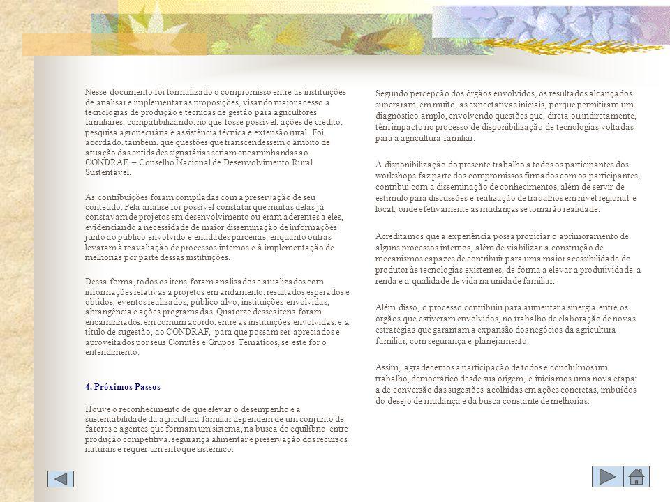WORKSHOP AGRICULTURA FAMILIAR DISPONIBILIZAÇÃO DE TECNOLOGIAS DE PRODUÇÃO E GESTÃO TÓPICO 1 - CRÉDITO 1.1 CONCEDER CRÉDITO SISTÊMICOCONCEDER CRÉDITO SISTÊMICO 1.2 FINANCIAR PROJETOS E PROGRAMAS COM FOCO NAS CADEIAS PRODUTIVASFINANCIAR PROJETOS E PROGRAMAS COM FOCO NAS CADEIAS PRODUTIVAS 1.3 CONCEDER CRÉDITO DIFERENCIADO, REGIONALIZADO E NÃO MASSIFICADOCONCEDER CRÉDITO DIFERENCIADO, REGIONALIZADO E NÃO MASSIFICADO 1.4 DESENVOLVER MECANISMOS QUE ESTIMULEM A PRODUÇÃO SUSTENTÁVEL NA AGRICULTURA FAMILIAR, TAIS COMO BÔNUS DE INCENTIVODESENVOLVER MECANISMOS QUE ESTIMULEM A PRODUÇÃO SUSTENTÁVEL NA AGRICULTURA FAMILIAR, TAIS COMO BÔNUS DE INCENTIVO 1.5 INTENSIFICAR, NA PRIORIZAÇÃO E NO FOMENTO, PESQUISAS VOLTADAS PARA A PRODUÇÃO DE MATERIAL GENÉTICO PARA O AGRICULTOR FAMILIARINTENSIFICAR, NA PRIORIZAÇÃO E NO FOMENTO, PESQUISAS VOLTADAS PARA A PRODUÇÃO DE MATERIAL GENÉTICO PARA O AGRICULTOR FAMILIAR 1.6.
