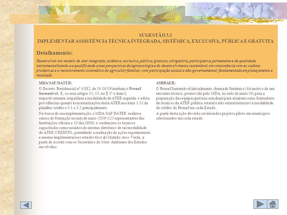 MDA/SAF/DATER: O Decreto Presidencial nº 6.882, de 19/06/09 instituiu o Pronaf Sustentável. E, os seus artigos 01, 03, no § 1º e item I, respectivamen