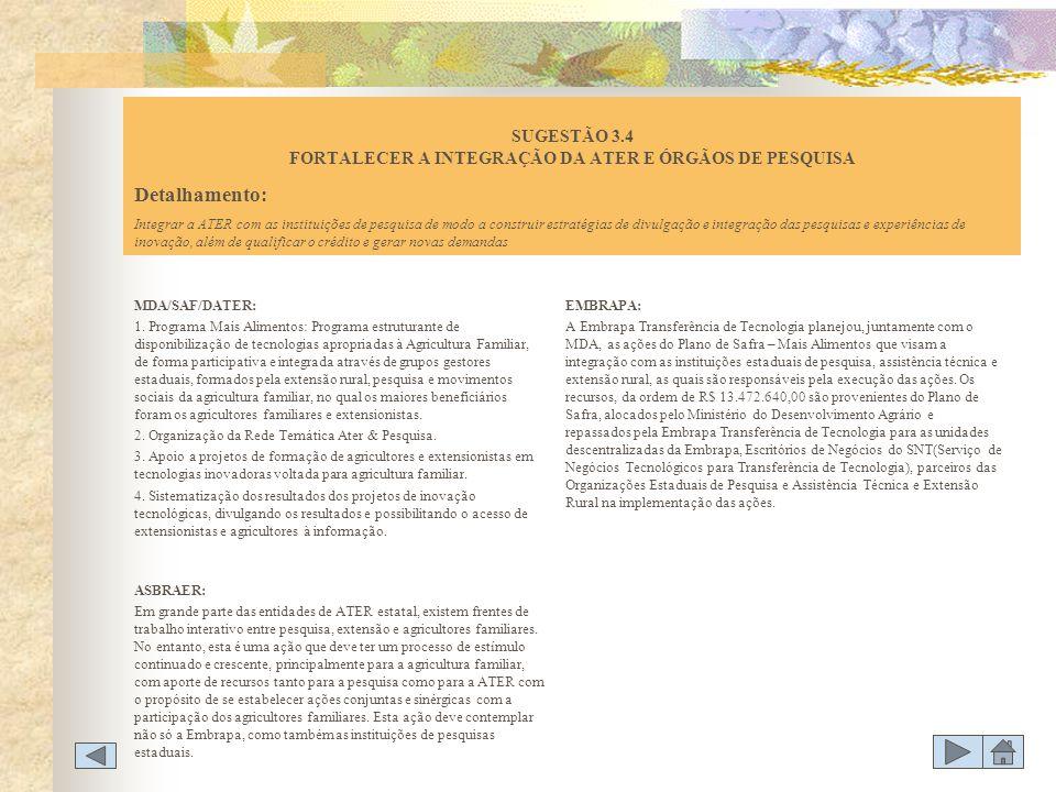 MDA/SAF/DATER: 1. Programa Mais Alimentos: Programa estruturante de disponibilização de tecnologias apropriadas à Agricultura Familiar, de forma parti