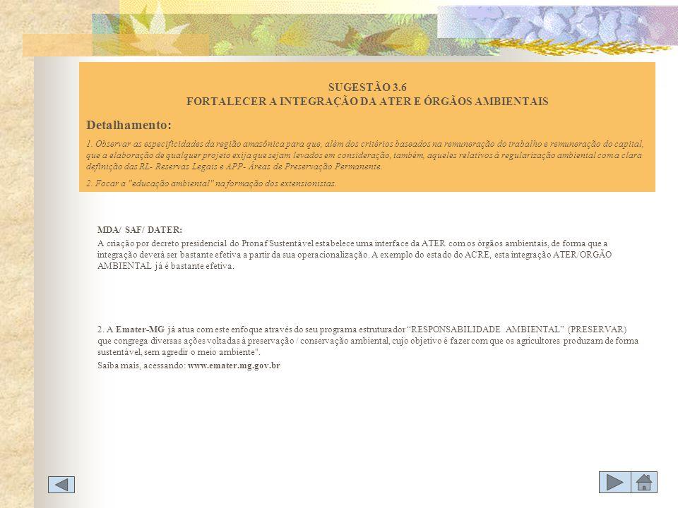MDA/ SAF/ DATER: A criação por decreto presidencial do Pronaf Sustentável estabelece uma interface da ATER com os órgãos ambientais, de forma que a in