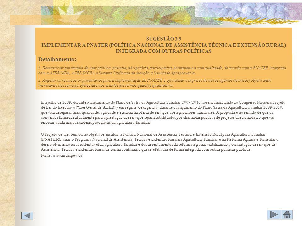 Em julho de 2009, durante o lançamento do Plano de Safra da Agricultura Familiar 2009/2010, foi encaminhando ao Congresso Nacional Projeto de Lei do E