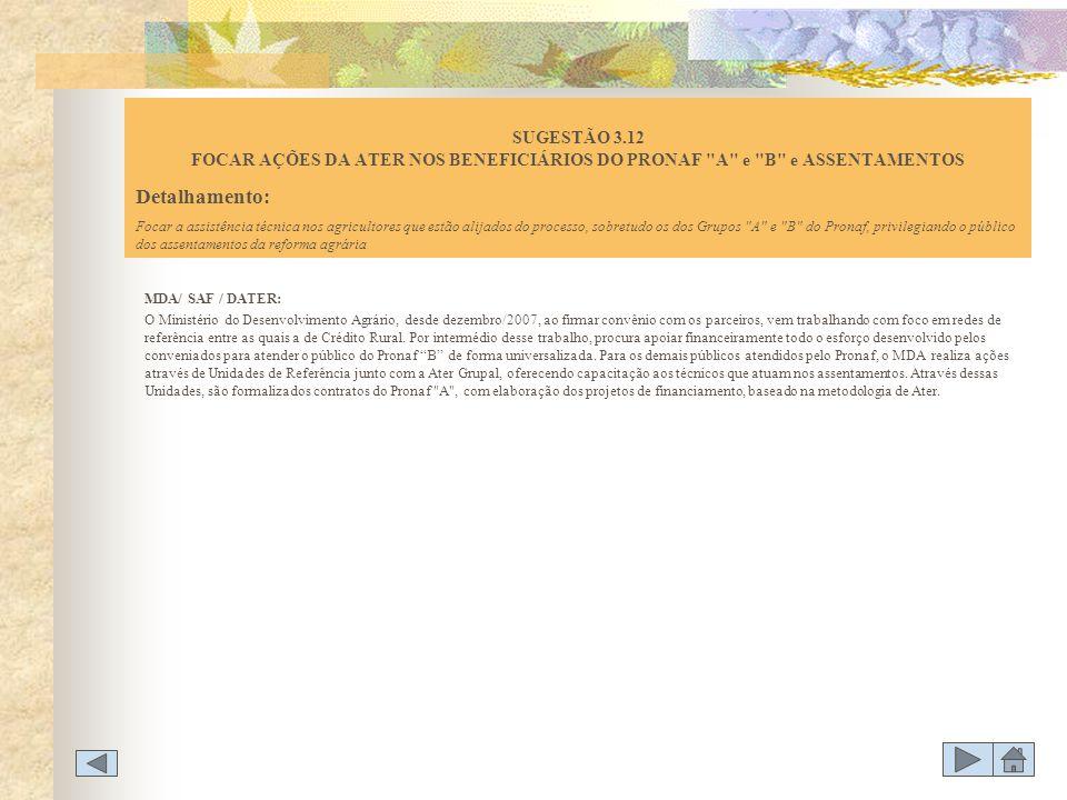MDA/ SAF / DATER: O Ministério do Desenvolvimento Agrário, desde dezembro/2007, ao firmar convênio com os parceiros, vem trabalhando com foco em redes