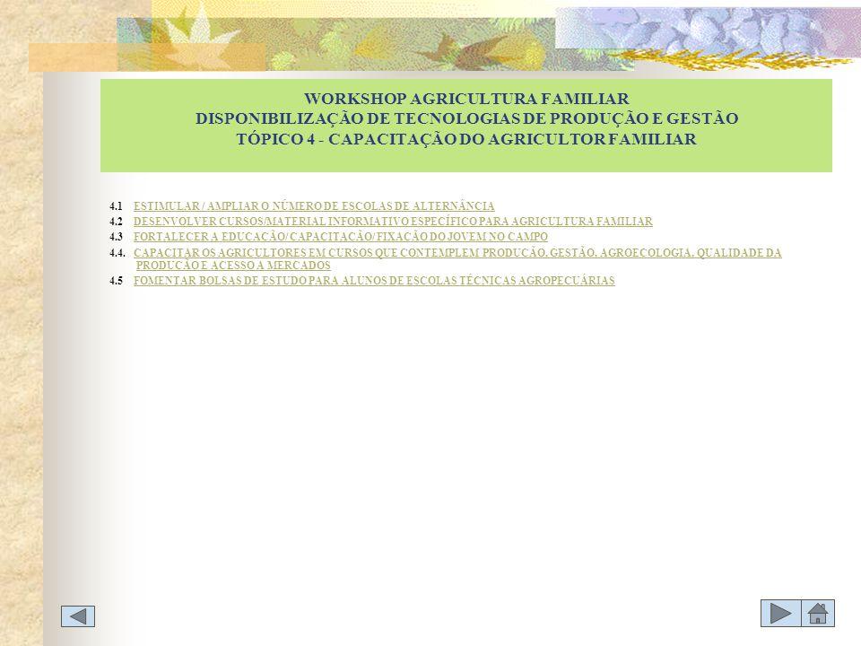 WORKSHOP AGRICULTURA FAMILIAR DISPONIBILIZAÇÃO DE TECNOLOGIAS DE PRODUÇÃO E GESTÃO TÓPICO 4 - CAPACITAÇÃO DO AGRICULTOR FAMILIAR 4.1 ESTIMULAR / AMPLI