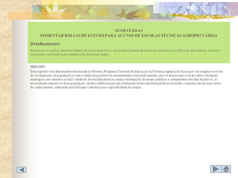 MDA/SDT: Esta sugestão está diretamente relacionada ao Pronera (Programa Nacional de Educação na Reforma Agrária) do Incra que visa ampliar os níveis