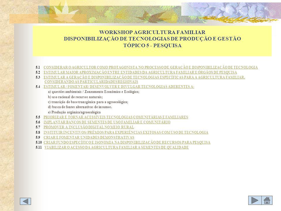WORKSHOP AGRICULTURA FAMILIAR DISPONIBILIZAÇÃO DE TECNOLOGIAS DE PRODUÇÃO E GESTÃO TÓPICO 5 - PESQUISA 5.1 CONSIDERAR O AGRICULTOR COMO PROTAGONISTA N